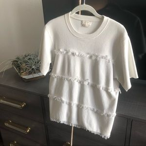 Kate Spade New York Fringe Short Sleeve Sweater